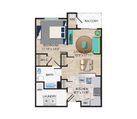 1 Bedroom, 1 Bathroom. 842 sq. ft.