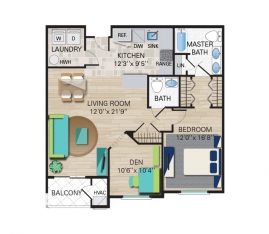 1 Bedroom, 1-1/2 Bathroom. 1185 sq. ft.