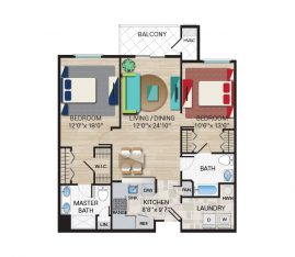 2 Bedroom, 2 Bathroom. 1279 sq. ft.