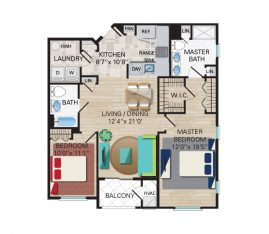2 Bedroom, 2 Bathroom. 1271 sq. ft.