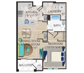 New construction units. Unit A - 1 Bedroom, 1 Bathroom. 860 sq. ft.