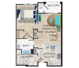 New construction units. Unit A2 - 1 Bedroom, 1 Bathroom. 861 sq. ft.