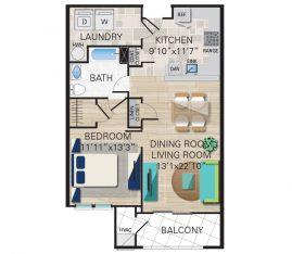 New construction units. Unit A3 - 1 Bedroom, 1 Bathroom. 923 sq. ft.