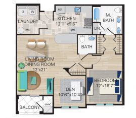 New construction units. Unit B - 1 Bedroom, 1 1/2 Bathrooms with Den. 1185 sq. ft.