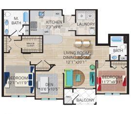 New construction units. Unit B2 - 2 Bedroom, 2 Bathrooms with Den. 1444 sq. ft.