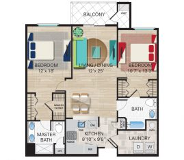 New construction units. Unit C - 2 Bedroom, 2 Bathrooms. 1275 sq. ft.
