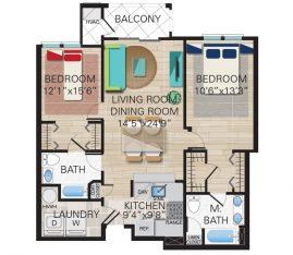 New construction units. Unit C2 - 2 Bedroom, 2 Bathrooms. 1361 sq. ft.