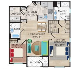 New construction units. Unit F - 2 Bedroom, 2 Bathrooms. 1281 sq. ft.